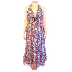 Floral Boho Floor-Length Peasant Skirt Dress